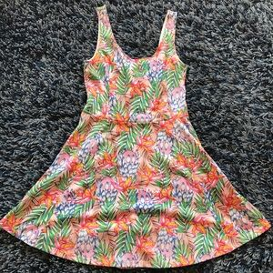 Fit and Flare Tropical Skater Dress